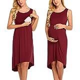 Unibelle Damen Umstandskleid Schwangerschafts Kleid Roll Ausschnitt Mit Ärmellos Nachthemd Stillkleid Wein Rot M