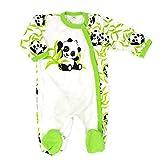 Baby Sweets Baby Strampler Mädchen/Jungen beige grün | Motiv Happy Panda | 100% Bambus Material für Neugeborene & Kleinkinder | Größe: 1 Monate (56) …
