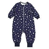 TupTam Baby Unisex Schlafsack mit Beinen und Ärmel Winter, Farbe: Sterne Weiß/Dunkelblau, Größe: 80-86