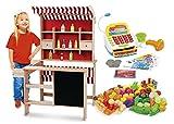Kaufladen aus Holz Inklusive Kaufladenzubehör und Registrierkasse, Supermarkt aus Holz, Verkaufsstand mit Verkaufsregal, Frontablage und Tafel und Zubehör, Marktstand