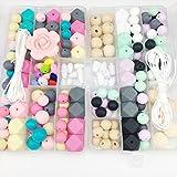 Mamimami Home Silikon Beißring Perlen Blume Sets DIY Halskette hölzern Perlen Ungiftig Armband Gemacht Zubehör Baby Teether Spielzeug Lebensmittelqualität