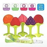 Beißring für Babys Baby Schnuller Baby Zahnungshilfe Kühlend Zahnen Spielzeug Zahnungshilfe Weich mit Schnuller Clip für Kleinkind Säugling Jungen Mädchen Obst Silikon Set mit 5 Stück
