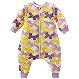 Baby Schlafsack Mit Reißverschluss Beine Getrennt Ärmel abnehmbar 1.5 Tog,Lila Schmetterling L