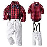 SANMIO Baby Jungen Bekleidungssets, 3tlg Strampler Set Shirt + Weste + Hose Langarm Body Kleidung Set für Baby Geburtstagsparty Kleid
