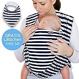 Babytragetuch Marineblau mit Streifen – hochwertiges Baby-Tragetuch für Neugeborene und Babys bis 15 kg - inkl. GRATIS Baby-Lätzchen