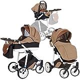 Kombi Kinderwagen 3in1 Baby 0-36 Monate | Wanne, Buggy, Babyschale 0-13 kg | Grosser Luftreifen Komfort | Pannenfrei Garantie