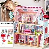 Infantastic Puppenhaus aus Holz | 3 Spielebenen, mit Möbeln und Zubehör, für 12 cm große Puppen | Puppenvilla, Dollhouse Kinder Spielzeug für Kinderzimmer und Schlafzimmer, für Mächen und Jungen