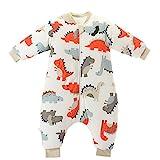 Chilsuessy Baby Schlafsack mit Beinen Warm gefüttert Winter Langarm Winterschlafsack mit Füssen 3.5 Tog, Grau, L/Koerpergroesse 80-90cm