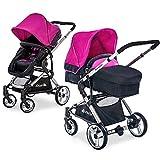 Hauck Kombi-Kinderwagen Manhattan | Kinderwagen-Set mit Babywanne und Sportwagenaufsatz - Charcoal Purple Pink