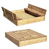 Sandkasten Sandbox Sandkiste mit Klappdeckel Sitzbänken 120x120 Kiefernholz
