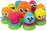 TOMY Wasserspiel für Kinder'Okto Plantschis' Mehrfarbig, Hochwertiges Kleinkinderspielzeug, Spielzeug für die Badewanne, Babyspielzeug ab 1 Jahr, Geschenke für Babys, Badewannenspielzeug