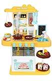 ISO TRADE Spielküche Kinderküche Zubehör Funktion Wasserhahn Kaltdampf 43 Elemente 9567, Farbe:Gelb