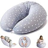 Bamibi® Stillkissen Multifunktional, Schwangerschaftskissen zum Schlafen Seitenschläferkissen + Klein Kissen, mit Bezug aus 100% Baumwolle