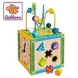 Eichhorn buntes Spielcenter, Motorikwürfel mit Motorikschleife, Uhr, Motorikspiel, Drehspiel und 5 Steckbausteine, für Kinder ab 1 Jahr, Größe: 20x20x36 cm