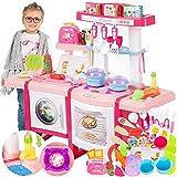 Kinderküche Spielküche Spielzeug Küche KP6030 mit Zubehör Zubehörteile Rosa Neu Küchenspielzeug SpielKüche mit Kochgeschirr, inkl. Licht und Kochgeräuschen,Mädchen Spielzeug
