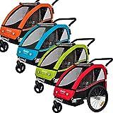 Veelar Sports 2 in 1 Kinderanhänger Fahrradanhänger Anhänger mit Buggy Set Jogger BT502-D01 rot