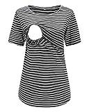 Love2Mi Still-Shirt Damen Umstandstop, Schwangeres Stillen Nursing Schwangerschaft Top Umstandsmode Layereddesign Wickeln-Schicht, Dunkelgraue Streifen, L