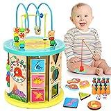 WloveTravel Motorikwürfel,Wooden Activity Cube Bead Maze 10 in 1 Holzspielzeug,Mehrzweck-Lernspielzeug für Baby, Kinder, Kinder, Kleinkinder