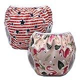 Luxja Schwimmwindel wiederverwendbar (2 Stück), Baby Schwimmhose Verstellbarer, Waschbar Schwimmwindel für Baby (0-3 Jahre), Forest Flamingo + Sterne (roter Streifen)