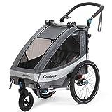Qeridoo Sportrex 1 (2020) Fahrradanhänger Kinder, 1 Sitzer, Federung - Grau