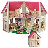 Howa klappbares Puppenhaus, incl. Möbel und Puppen 7013