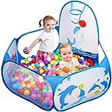Kinder Bällebad, Likorlove Pop Up Baby Kugelbad Outdoor mit Mini Basketballkorb Bällepool Bällebecken Spielbälle Kugelbad Bällchenbad Spielbecken für drinnen und draußen 47 inch - Blau