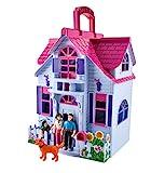 ISO TRADE Puppenhaus Klappbar 6 Zimmer Möbel Figuren Familie mit Hund Spielzeug Tragbar 6079