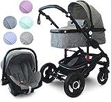 VCM Kombi - Kinderwagen, Babywagen 2in1 oder 3in1'VCK Kidax' 3in1 - mit Babyschale: Marine
