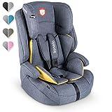 Lionelo Nico Kindersitz 9-36kg Kindersitz Auto Gruppe 1 2 3 Seitenschutz 5-Punkt Sicherheitsgurt abnehmbare Rückenlehne regulierbare Kopfstütze ECE R44 04 (Gelb)