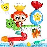 BBLIKE Badespielzeug für Babys, Kinder Wasser Dusche Badewannenspielzeug mit BAU-Puzzle Autorennbahn 14 Stück Spielzeug, Für Kinder Baby ab 18 Monate+