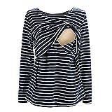 UTOVME Still Shirt für Damen Mutter Langarm Stilltop Verdoppelt Geschichteten Mutterschaft Top Stillen Streifen T-Shirt Blau M