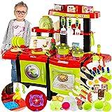 Kinderküche Spielküche Spielzeug Küche KP6031 mit Zubehör Zubehörteile Green Neu Küchenspielzeug SpielKüche mit Kochgeschirr, inkl. Licht und Kochgeräuschen,Mädchen Spielzeug…