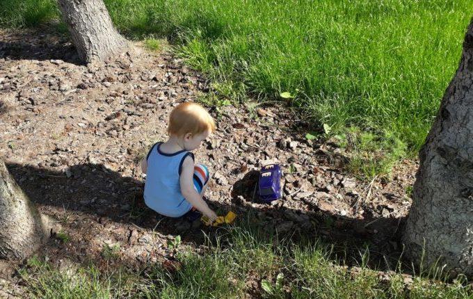 Sommertipps für Familien mit Baby und Kind - Kind spielt im Schatten eines Baumes mit Autos