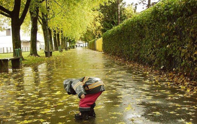 Die Regentipps - Kind sammelt Blätter