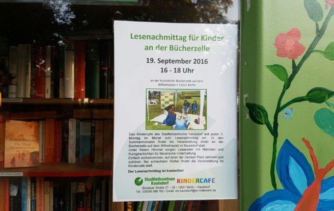 Spielplatz Wilhelmplatz in Berlin-Kaulsdorf - Lesenachmittag an der Bücherzelle