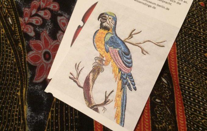 Besuch im Naturkundemuseum Berlin - Eintrittskarte mit Papagei