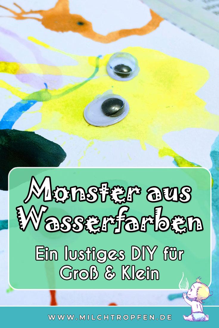Monster aus Wasserfarben - Ein lustiges DIY für Groß & Klein | Mehr Infos auf www.milchtropfen.de