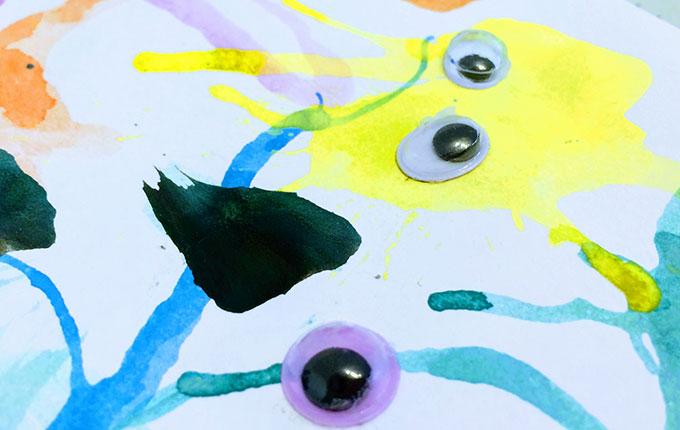 Wasserfarbenmonster mit Wackelaugen