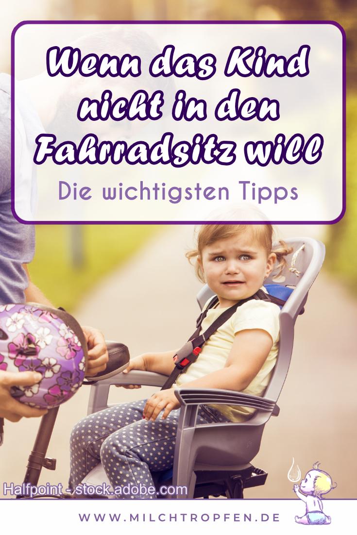 Wenn das Kind nicht in den Fahrradsitz will - Die wichtigsten Tipps | Mehr Infos auf www.milchtropfen.de