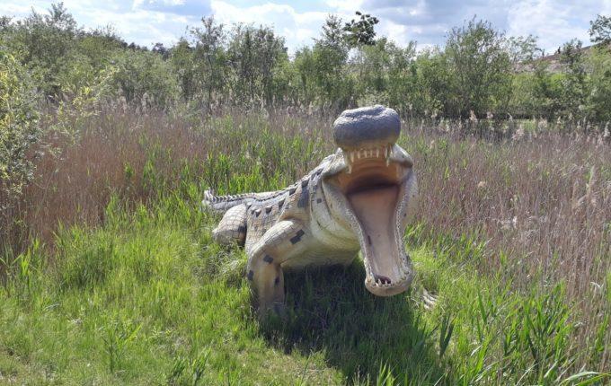 Dinopark Germendorf - Urzeitkrokodil mit aufgesperrtem Maul