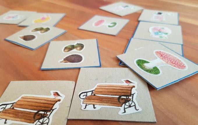 Memory Karten mit Stickern beklebt