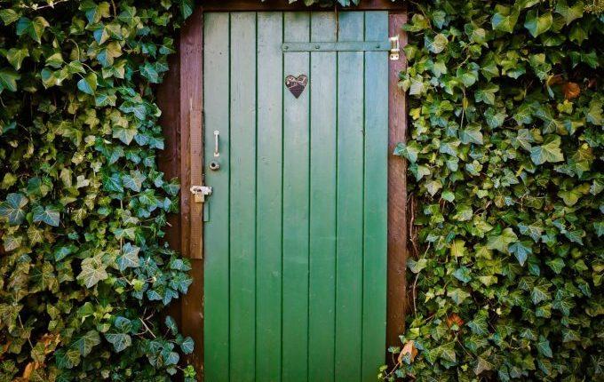 Grünes Toilettenhäuschen in der Natur