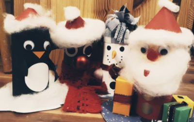 Basteln mit Klopapierrollen zu Weihnachten
