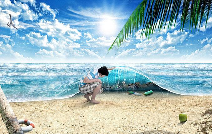 Mann hebt eine Welle hoch, unter der lauter Müll liegt