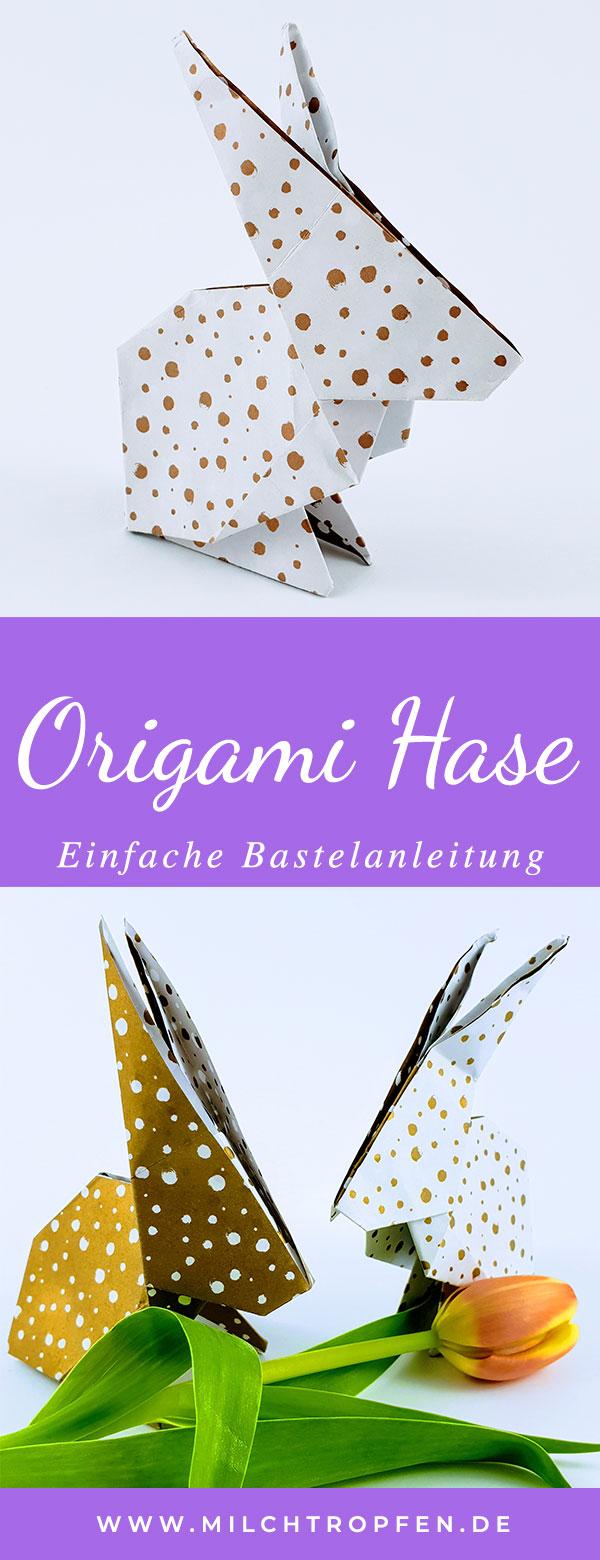 Einfache Bastelanleitung - Origami Hase | Mehr Infos auf www.milchtropfen.de