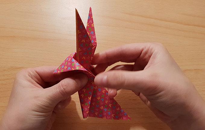 Finger falten Origami Hasenkopf