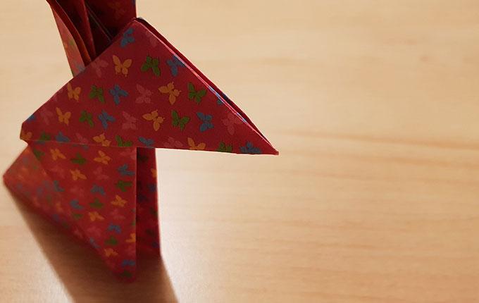 Origami Osterhase mit spitzer Nase