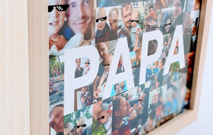 Rahmen mit Fotocollage von Papa und Kind