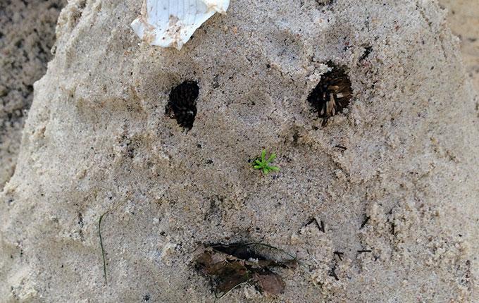 Figur aus Sand und Naturmaterialien