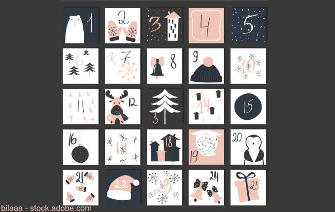 Weihnachtskalender von 1 bis 25
